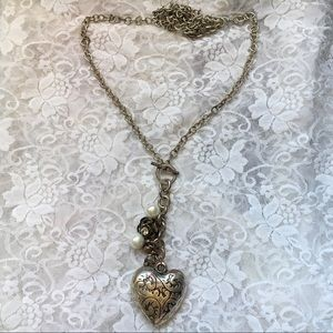 Vintage Long Chained Chunky Heart Charm Necklace